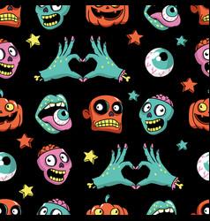 halloween seamless pattern in cartoon comic style vector image