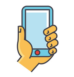 Hand holding smartphone or mobile phone concept vector