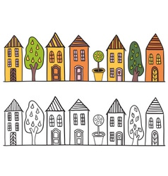Houses in small town pattern vector