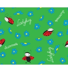 ladybugs with blue flowers vector image