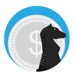Money and chess horse vector