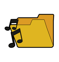 music note with file folder icon image vector image