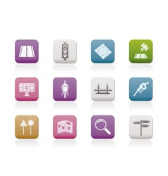 navigation and travel icons vector image vector image