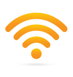 Orange wifi icon wireless symbol on isolated vector