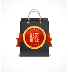 paper bag and gold label Best Offer vector image