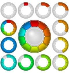 Progress bars set round vector image