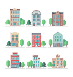 retro city houses vintage apartment buildings vector image