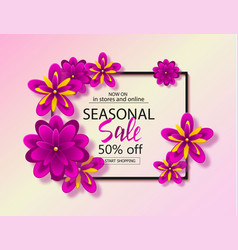 seasonal sale background with beautiful flowers vector image
