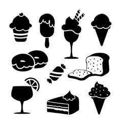 Set of black isolated food icons desserts ice vector