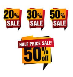 set of sale paper banner sale background vector image