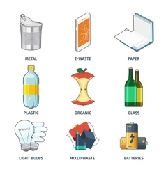 Trash categories icons set vector