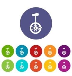 Unicycle set icons vector
