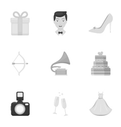 Weeding set icons in monochrome style big vector