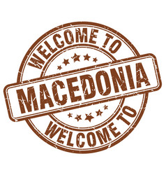 Welcome to macedonia brown round vintage stamp vector