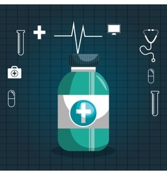 Icon bottle medicine set icons medical graphic vector