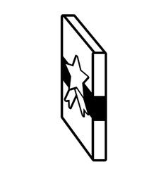 Gift box side ribbon star outline vector