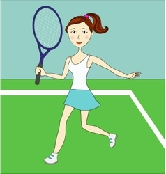 Young pretty girl - tennis player - with a racket vector