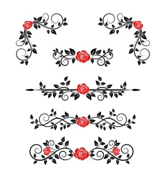 Roses with floral embellishments vector