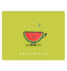 Icon of watermelon fruit funny cartoon character vector