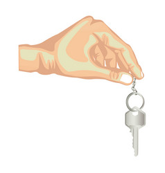 skin color hand holding metallic keyring and key vector image