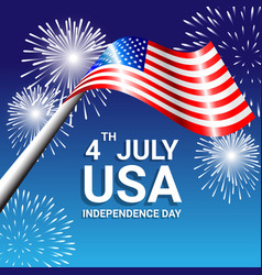 American flag with fireworks for independence day vector