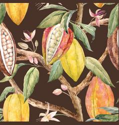 watercolor cacao pattern vector image