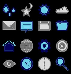 Design useful web icons on black background vector
