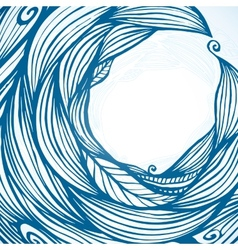 Blue hair waves doodle circle frame vector