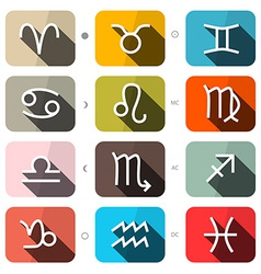 Zodiac - horoscope square icons set vector