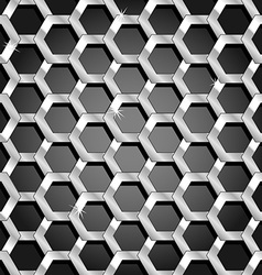 Seamless honeycomb pattern over black gradient vector