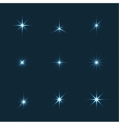 Set of sparkle lights stars vector
