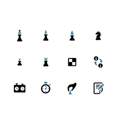 Chess duotone icons on white background vector