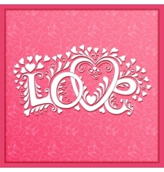 Love hand lettering valentines day card vector
