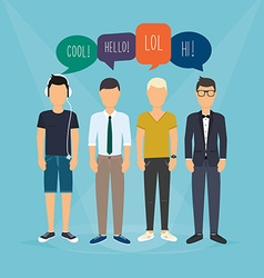 Four guys communicate speech bubbles with social vector