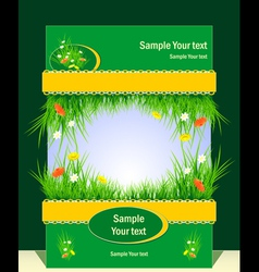 Frame with grass for presentation vector
