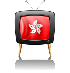A TV showing the flag of Hongkong vector image