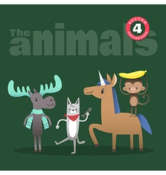 animals cartoon including moose cat horse monkey vector image