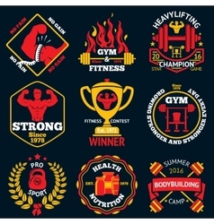 Bodybuilding bright labels set - strong man vector image
