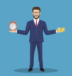 businessman balance time and money vector image vector image