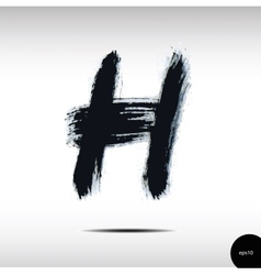 Calligraphic watercolor letter H vector image