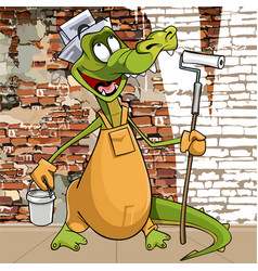 Cartoon character funny crocodile in the attire vector
