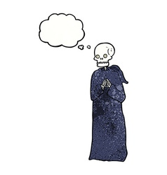Cartoon skeleton in black robe with thought bubble vector