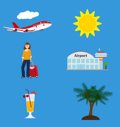 Collection of vacation symbols airport flying vector