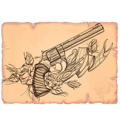 Contour image of revolver roses and ribbon on the vector