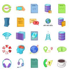 Data center icons set cartoon style vector