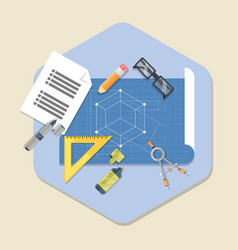 Engineering planning symbol blueprint icon in vector