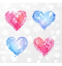Four rose quartz and serenity hearts vector