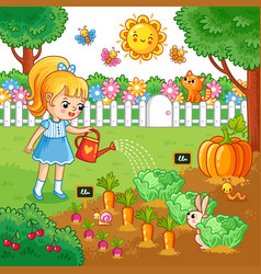 girl is watering garden bed with vegetables vector image vector image