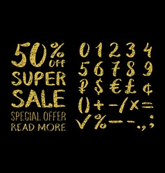 Gold glittering metal alphabet - numbers figures vector