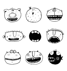 Hand drawn doodle outline cartoon monster faces vector